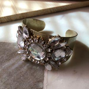 Jewelry - Clear gem matte gold cuff bracelet